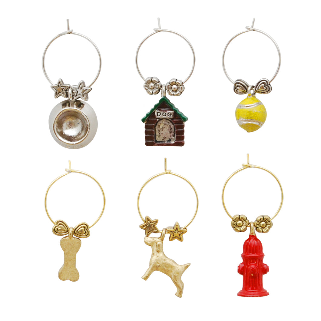 Wine Things 6-Piece A Dog's Life Wine Charms, Painted