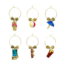 Load image into Gallery viewer, Wine Things 6-Piece On The Beach Wine Charms, Painted