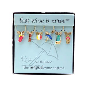 Wine Things 6-Piece On The Beach Wine Charms, Painted