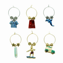 Load image into Gallery viewer, Wine Things 6-Piece Hang Ten Wine Charms, Painted