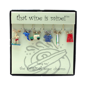 Wine Things 6-Piece Hang Ten Wine Charms, Painted