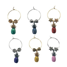 Load image into Gallery viewer, Wine Things 6-Piece Pineapple Wine Charms, Painted
