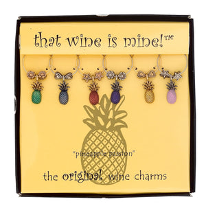 Wine Things 6-Piece Pineapple Wine Charms, Painted
