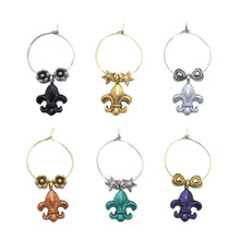 Load image into Gallery viewer, Wine Things 6-Piece Fleur De Lis Wine Charms, Painted
