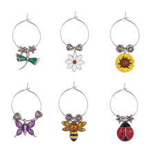Load image into Gallery viewer, Wine Things 6-Piece Flowers & Friends Wine Charms, Painted