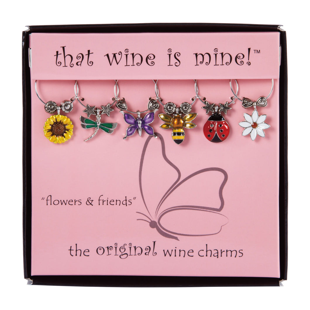 Wine Things 6-Piece Flowers & Friends Wine Charms, Painted