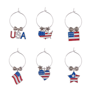 Wine Things 6-Piece Go USA Wine Charms, Painted
