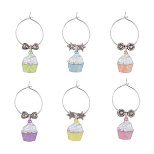 Wine Things 6-Piece Cupcake Heaven Wine Charms, Painted
