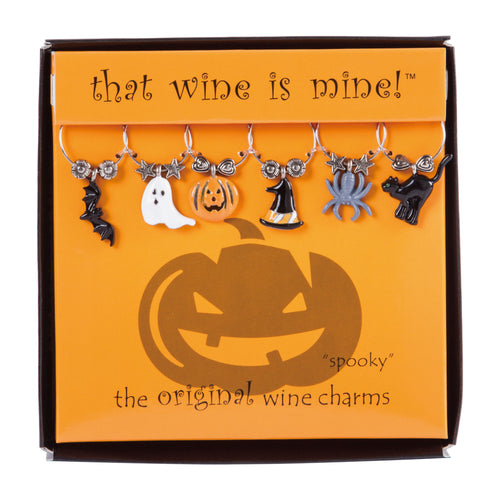 Wine Things 6-Piece Spooky Wine Charms, Painted