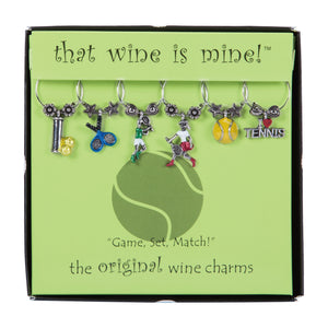 Wine Things 6-Piece Game, Set, Match! Wine Charms, Painted