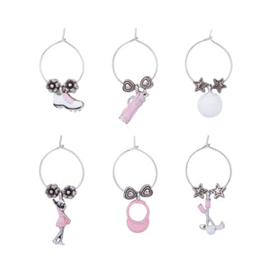 Wine Things 6-Piece Golfer Girls Wine Charms, Painted