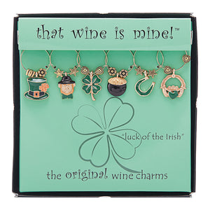 Wine Things 6-Piece Luck of The Irish Wine Charms, Painted