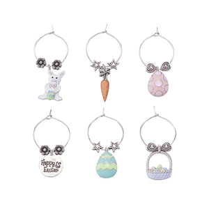 Wine Things 6-Piece EGGcellent Easter Wine Charms, Painted