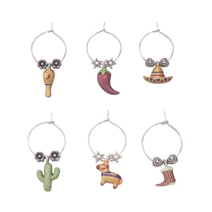 Wine Things 6-Piece Viva Mexico! Wine Charms, Painted