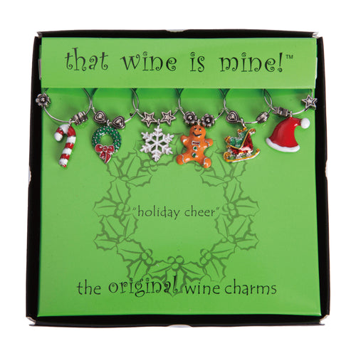 Wine Things 6-Piece Holiday Cheer Wine Charms, Painted