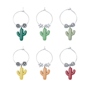 Wine Things 6-Piece Cactus Wine Charms, Painted