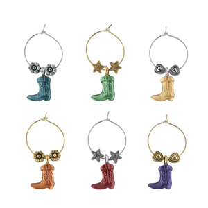 Wine Things 6-Piece Boot Wine Charms, Painted