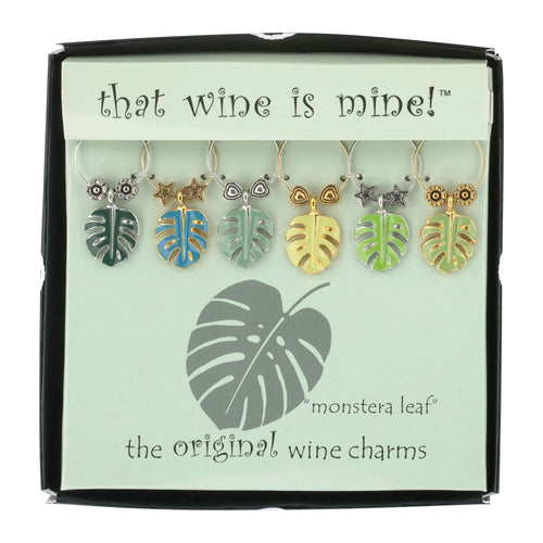 Wine Things 6-Piece Monstera Leaf Wine Charms, Painted