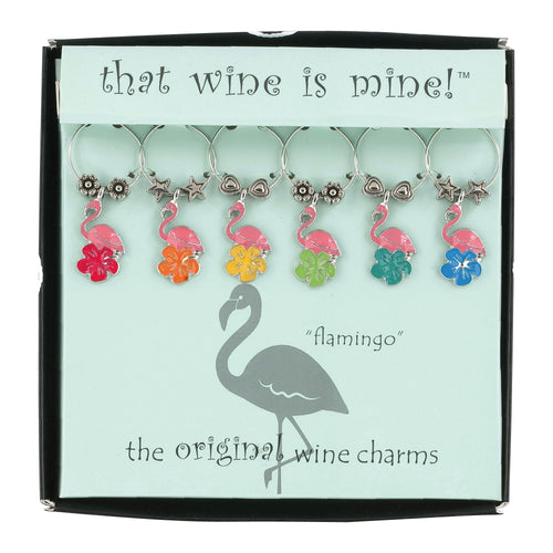 Wine Things 6-Piece Flamingo Wine Charms, Painted