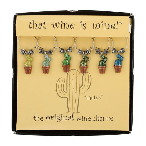 Wine Things 6-Piece Prickly Pear Wine Charms, Painted