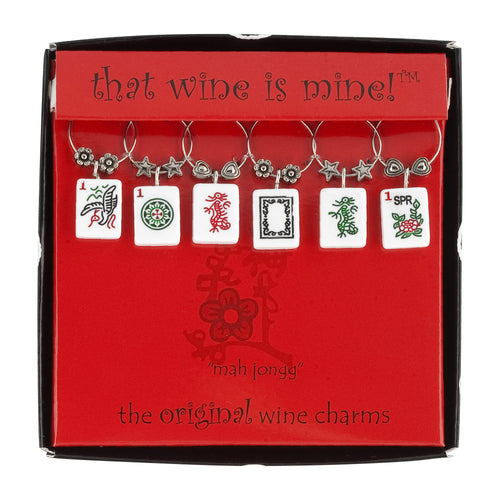 Wine Things 6-Piece American Mah Jongg Wine Charms, Painted