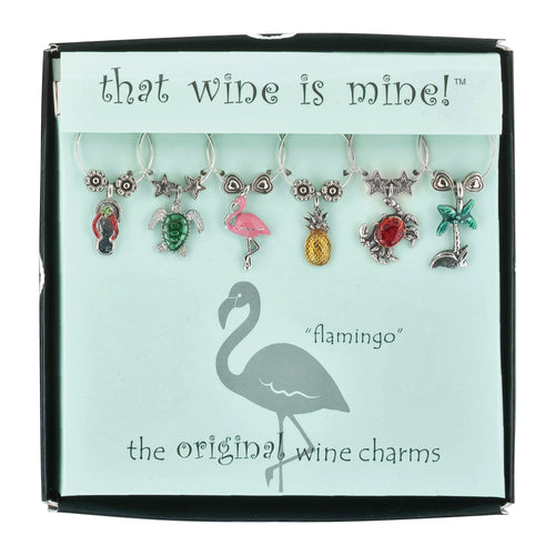 Wine Things 6-Piece Life's a Beach! Wine Charms, Painted