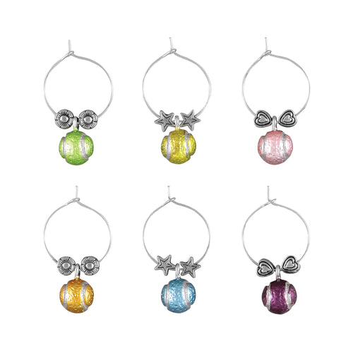 Wine Things 6-Piece Tennis Balls Wine Charms, Painted