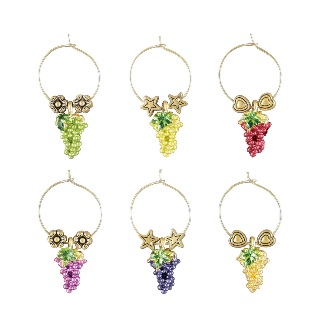 Wine Things 6-Piece Vintage Grape Wine Charms, Painted