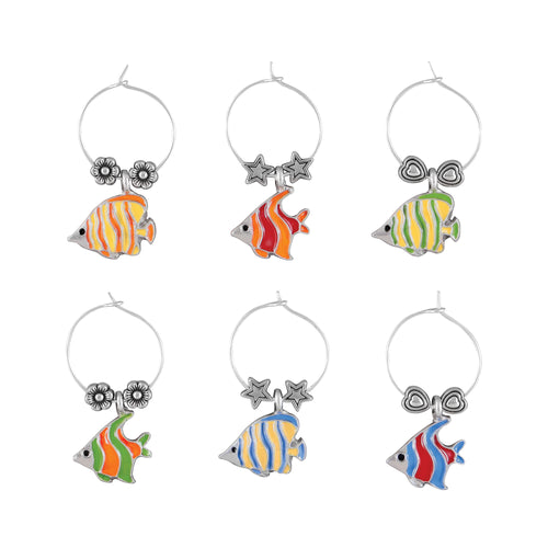 Wine Things 6-Piece Tropical Fish Wine Charms, Painted