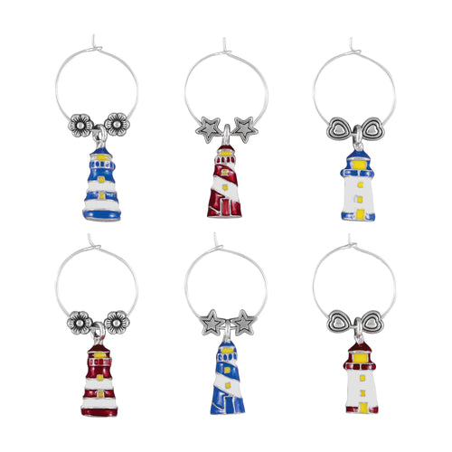 Wine Things 6-Piece Lighthouse Wine Charms, Painted