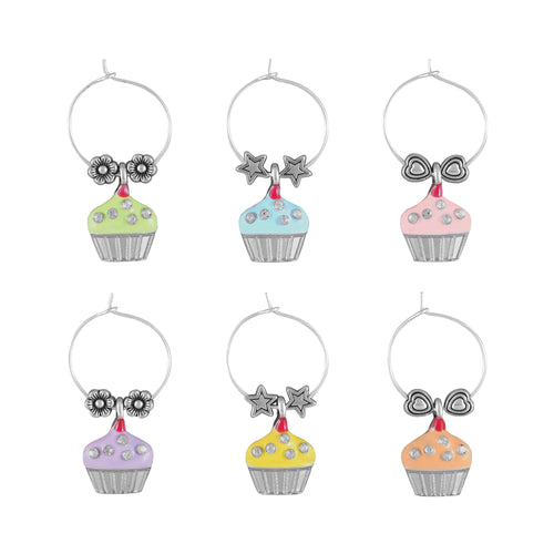 Wine Things 6-Piece Sweet Cupcake Wine Charms, Painted