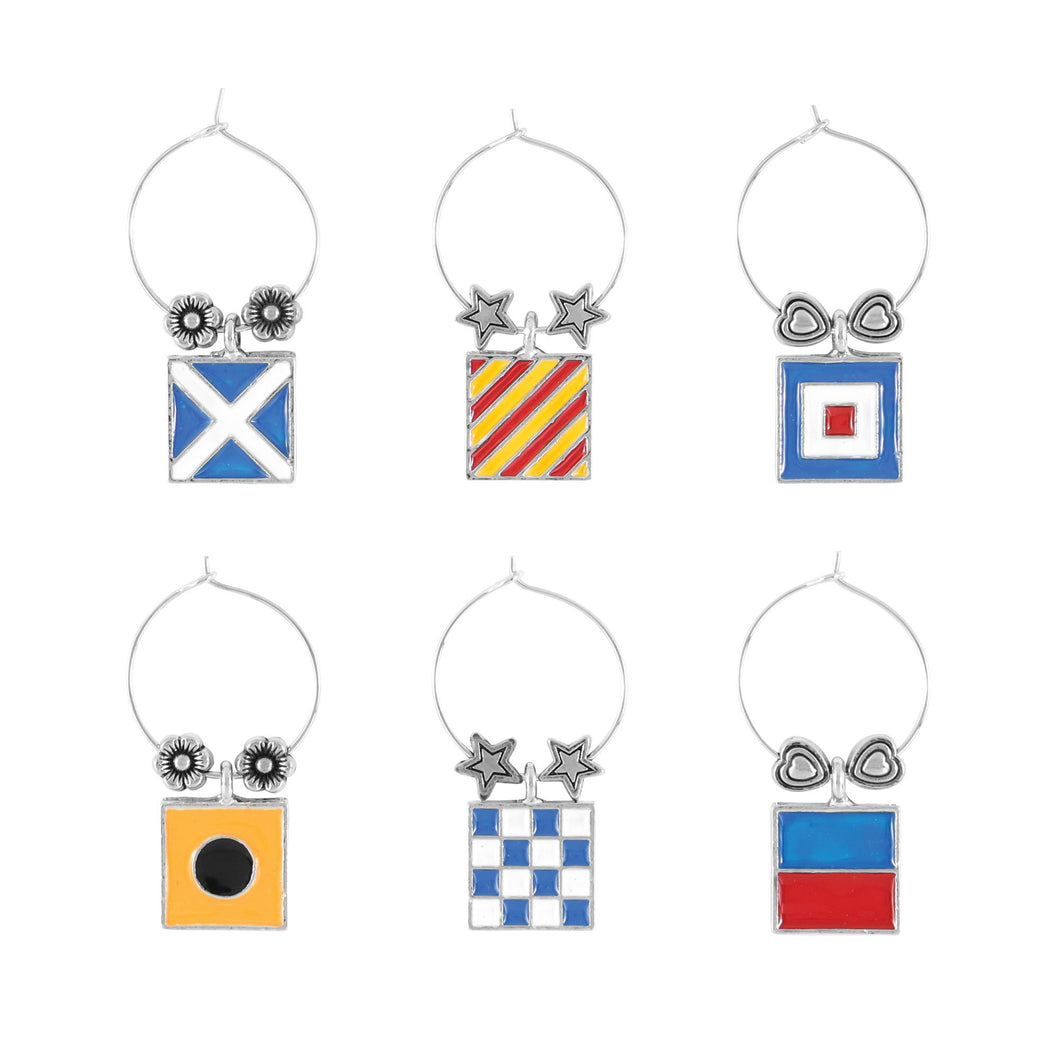 Wine Things 6-Piece Nautical Flags Wine Charms, Painted