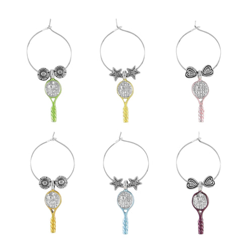 Wine Things 6-Piece Tennis Racquets Wine Charms, Painted