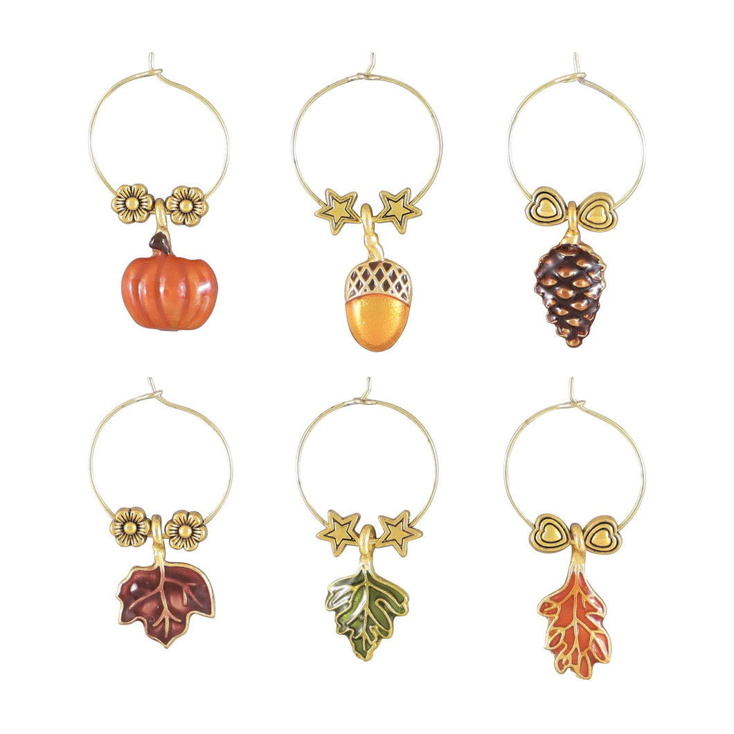 Wine Things 6-Piece Autumn Vibes Wine Charms, Painted