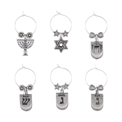 Wine Things 6-Piece Happy Hanukkah Wine Charms