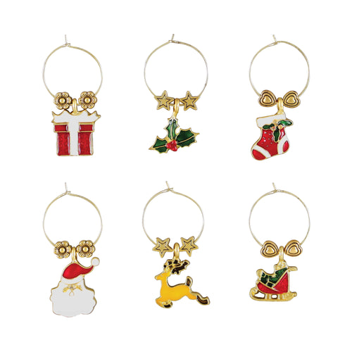 Wine Things 6-Piece Jingle Bell Wine Charms, Painted