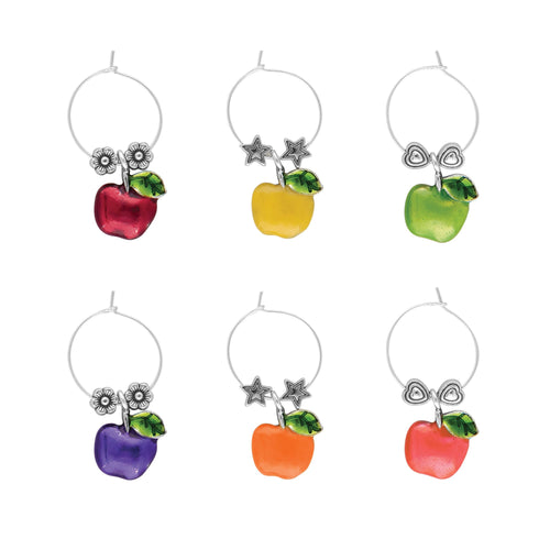 Wine Things 6-Piece Apple Wine Charms, Painted