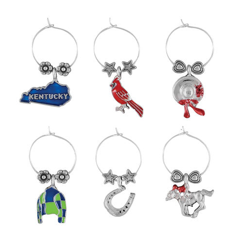 Wine Things 6-Piece Kentucky Wine Charms, Painted