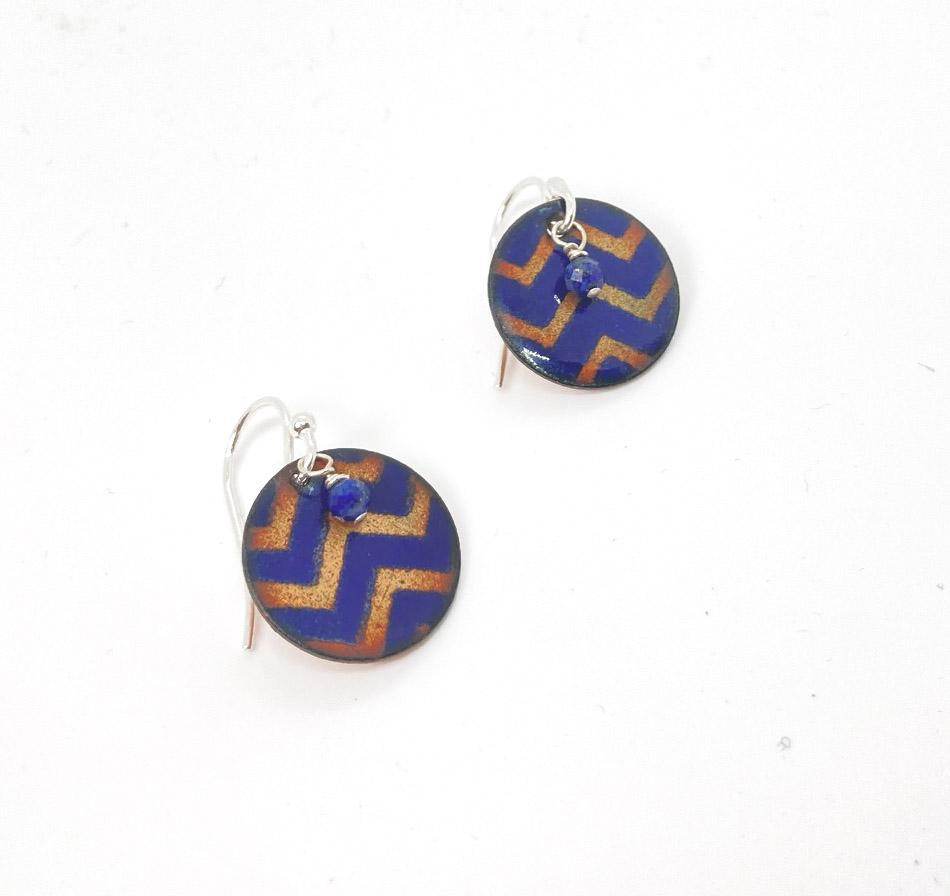 Zig Zag Enamel Earrings