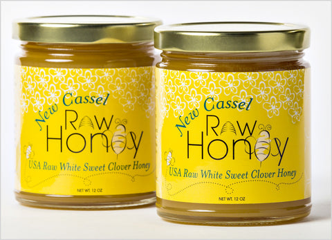 A Pair of 12 oz. Jars New Cassel Raw Honey
