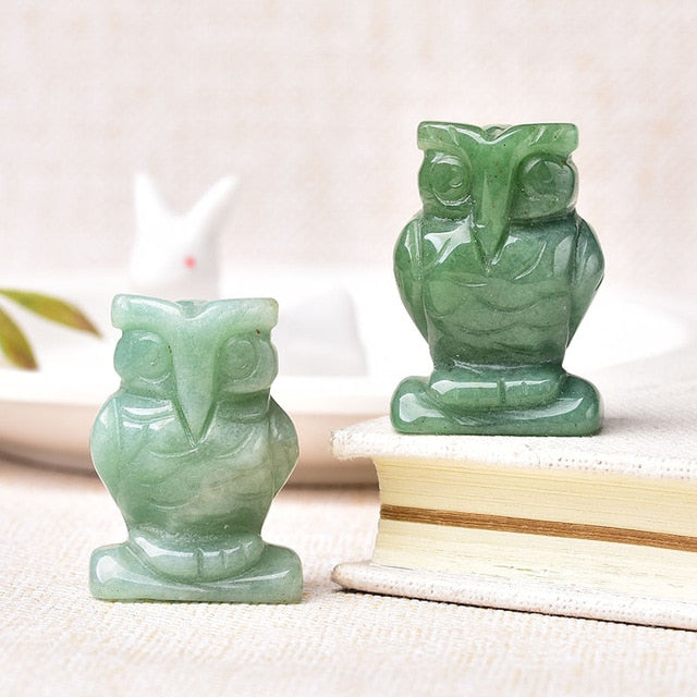 1PC  Carved Owl Animal Ornaments from Aventurine, Unakite,Tigers Eye, and Quartz