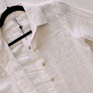 Let's Get It White Button Down Top