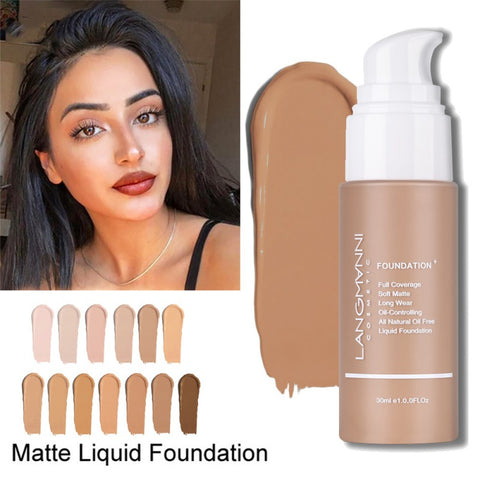 Langmanni Liquid Foundation Moisturizing Cover Blemishes Even Skin Color Waterproof Control Oil Foundation Liquid Makeup Base