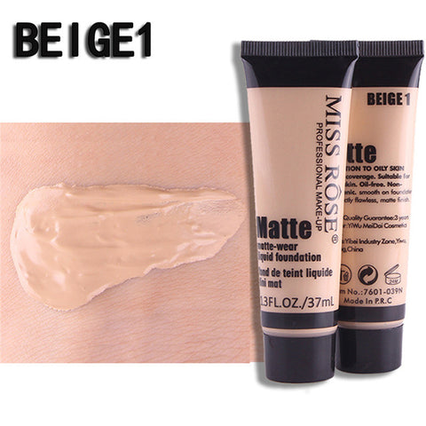 MISS ROSE Professional Base Matte Liquid Foundation Makeup Face Concealer Foundation Cosmetic Face Make Up