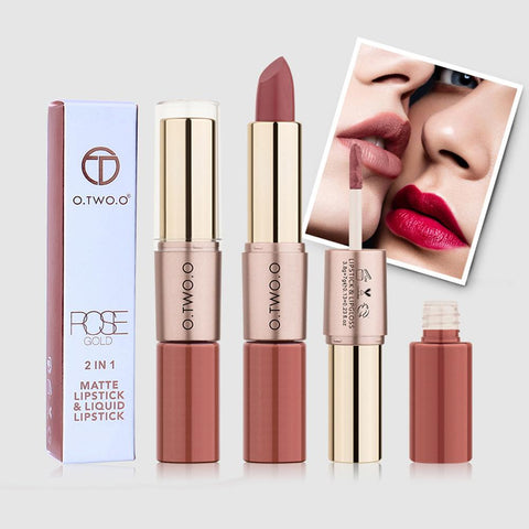 O.TWO.O 12 Colors Lips Makeup Lipstick Lip Gloss Long Lasting Moisture Cosmetic Lipstick  Matte Lipstick Waterproof Non-sticky