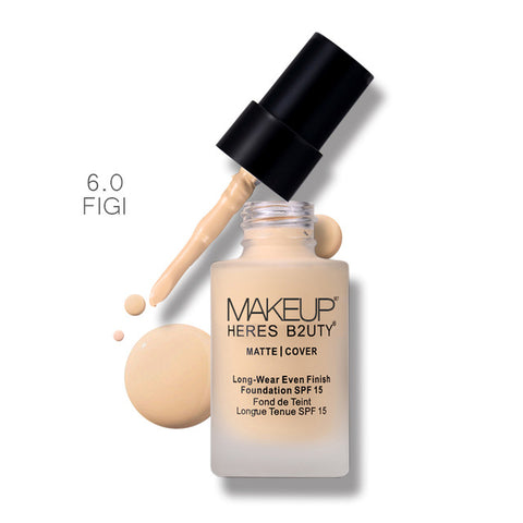 Brand HERES B2UTY Matte Cover Long-Wear Even Finish Foundation SPF15 Waterproof Concealer Whitening Moisturizer Oil-control 30ml