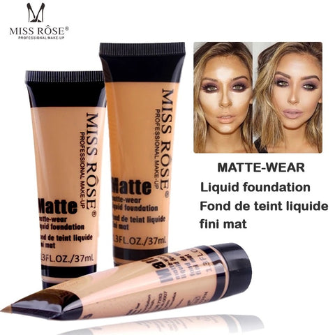 12PCS/LOT MISS ROSE fond de teint Professional Base Maquiagem Matte Foundation Makeup Face Concealer Liquid Foundation Cosmetic