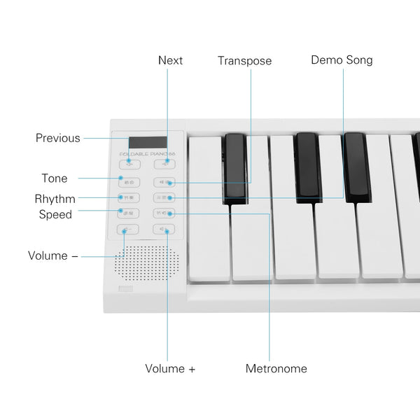 Foldable Electronic Piano Portable Keyboard - 88 Keys