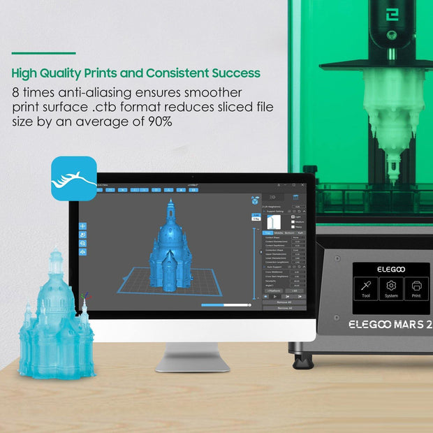 ELEGOO Mars 2 Mono LCD MSLA Resin 3D Printer 3D Printers elegoo-shop