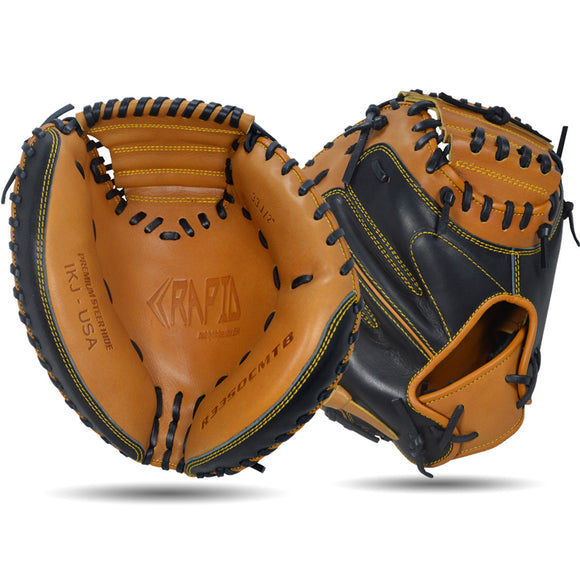 IKJ Rapid Series 33.5 INCH Open Back Model CATCHER'S Baseball Mitt in Tan and Black for RIGHT-HANDED Thrower